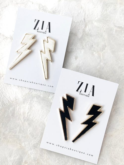 Threaded Lightning Bolt Earrings