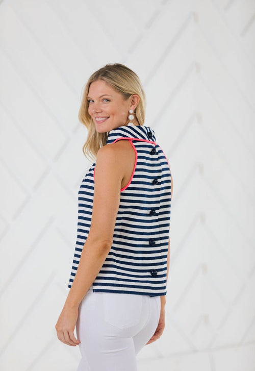 Striped Cowl Neck Button Back Top