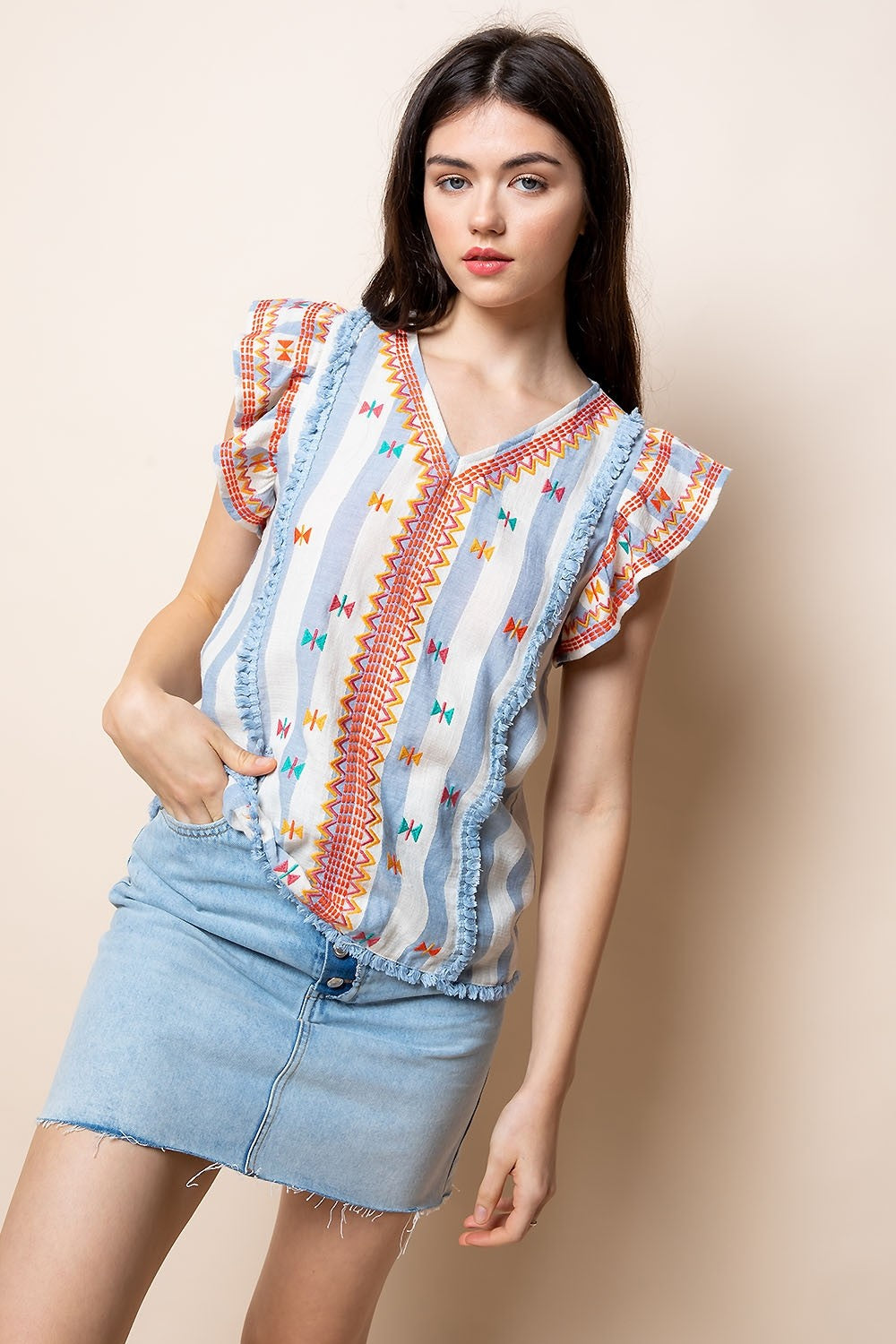 Corey Ruffle Embroidery Top