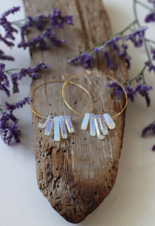 Gold Stone Hoops - Moonstone