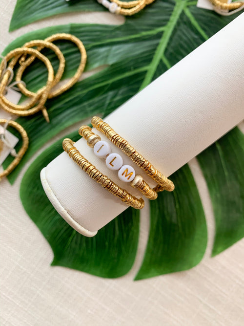 24K Gold Disc Stacking Bracelet