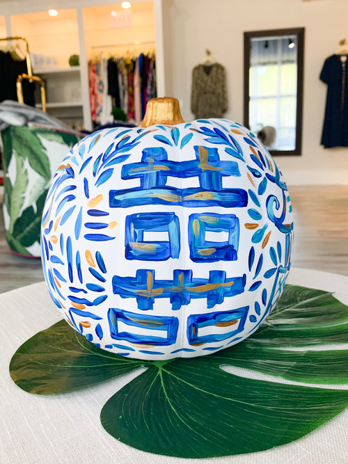 Blue Ginger Jar Painted Pumpkin - Medium