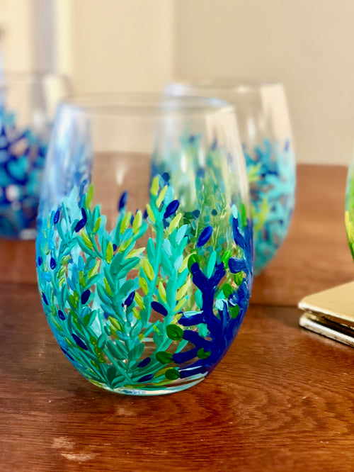 Stemless Wine Glass - Blue Coral