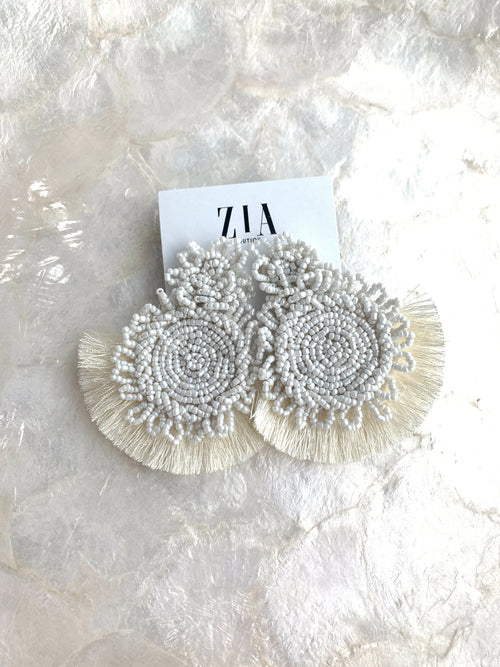 Beaded Medallion Fringe Earrings
