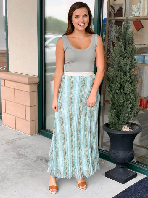 Snake Pleated Skirt