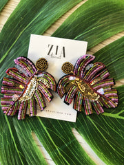 Beaded Tropical Leaf Earrings