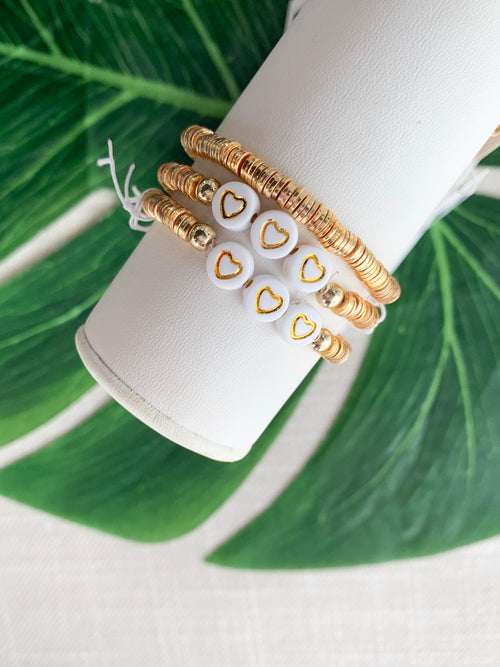 3 Hearts 24K Gold Disc Stacking Bracelet
