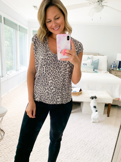 Leopard Scoop Neck Tank