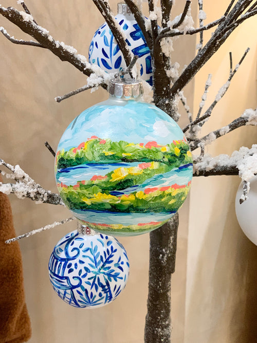 Sparkly Marsh Hand Painted Ornament