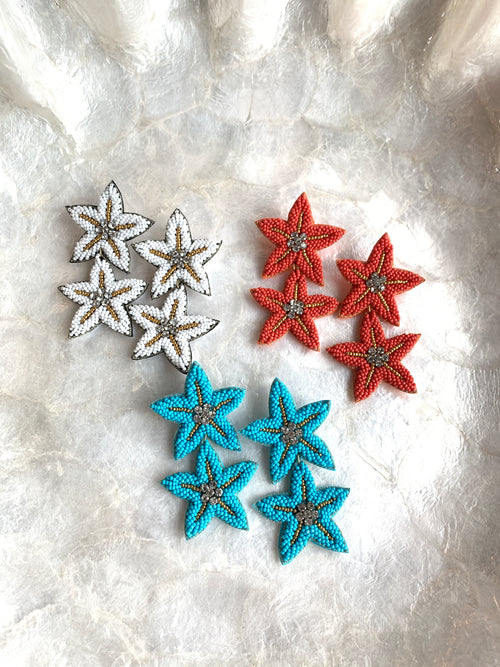 Beaded Double Starfish Earrings