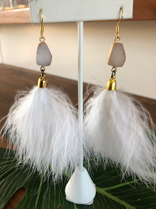 Druzy Feather Earrings
