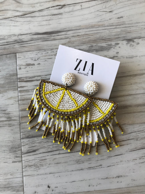Beaded Fringe Lemon Earrings