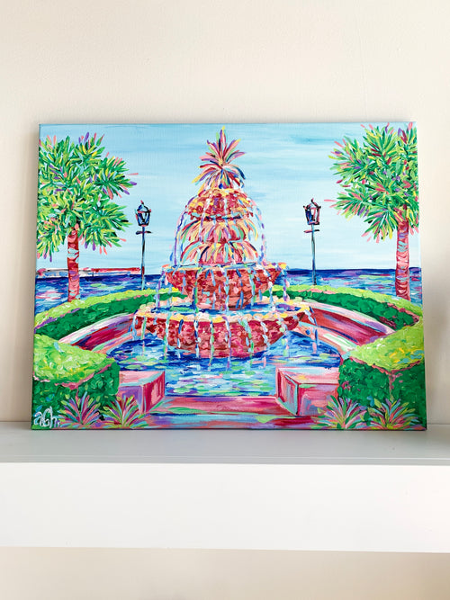 The Fanciest Fountain - Charleston - 16x20 Original Canvas