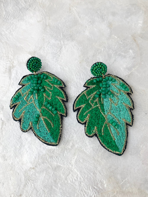 Embroidery Palm Earrings