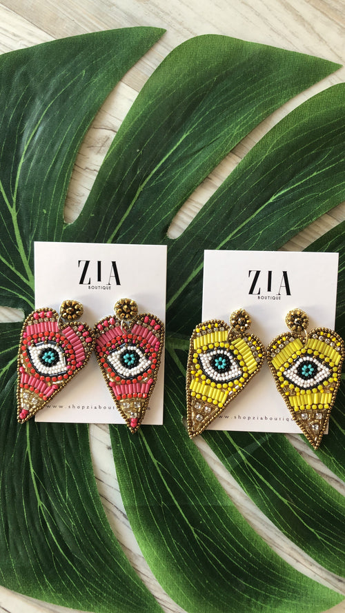 Beaded Eye Heart Earrings