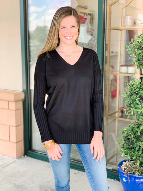 Ribbed Sleeve Tunic Sweater
