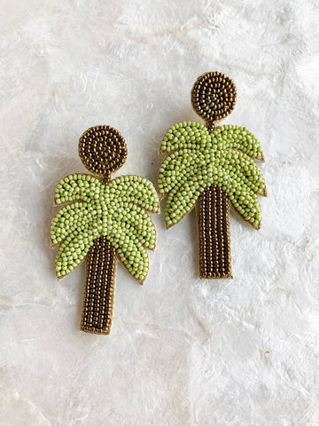 Seed Bead Tropical Leaf Earrings