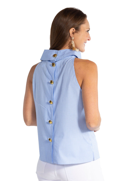Gingham Button Back Top
