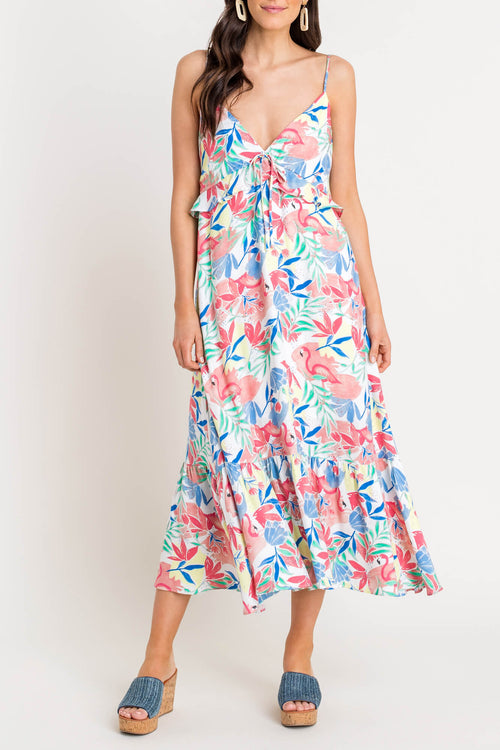Floral Flamingo Midi Dress