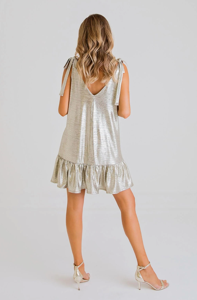 Metallic Tie Dress
