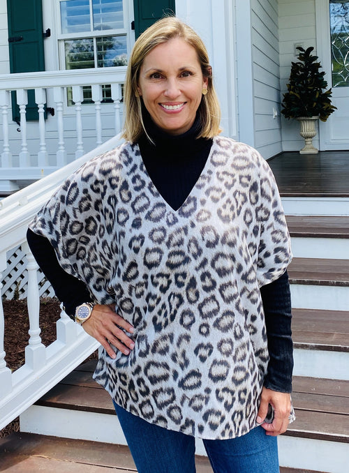 Millie Tunic Top - Snow Leopard