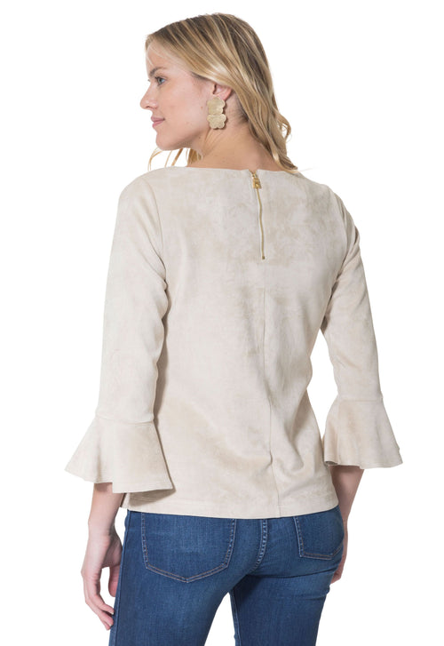 Faux Suede Bell Sleeve Top