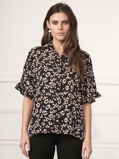 Naomi Ruffle Sleeve Button Front Top