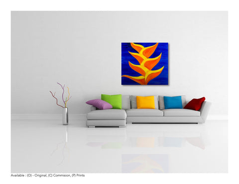 "Le Fleur The Exotics ""Heliconia's Blues - Large Original Oil Painting 40 x 40 - Yvette Michele Art"