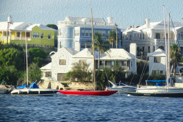 "Oh My Bermuda Series - ""Lil Red Boat"" - Limited Edition Prints - Yvette Michele Art"