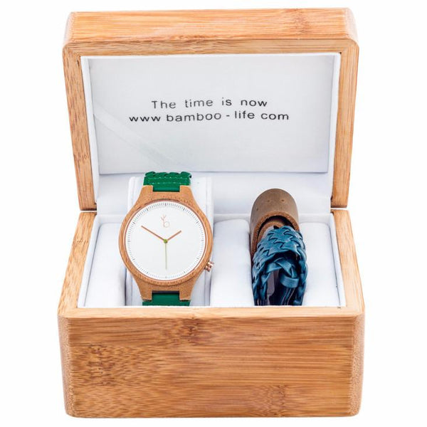 BAMBOO WATCH -TIBURON- WHITE ROUND
