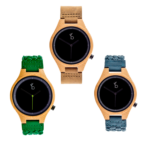 BAMBOO WATCH -TIBURON- BLACK ROUND