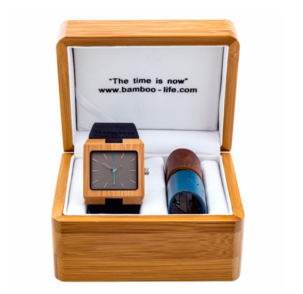 BAMBOO WATCH -LOBOS- GREY SQUARE
