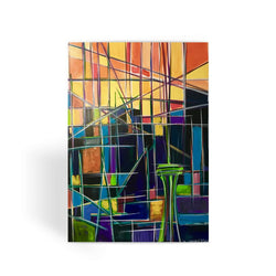 Seattle Sunrise Abstract Greeting Card
