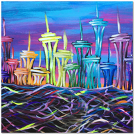 Space Needle Jewels and Colorful Ribbon Sea