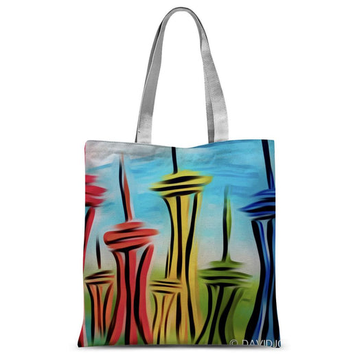 Whispering Rainbow Space Needles Sublimation Tote Bag