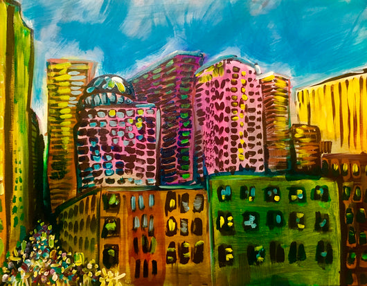 Mid Town Seattle Original Painting By David Johansson