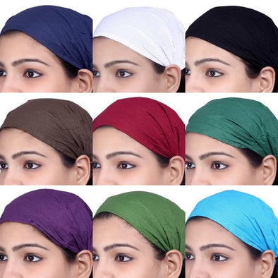 Lot 10 Pieces Women Cotton Solid Headband Wide Hairband Men Wrap Yoga Bandana