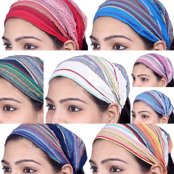 Lot 10 Pieces Women Cotton Striped Headband Wide Hairband Men Wrap Yoga Bandana