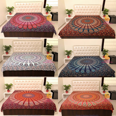 Queen Size Cotton Flat Bed Sheet Psychedelic Mandala Double Bedspread Bedding Dorm Throw