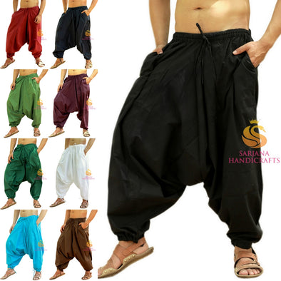 Men Women Cotton Solid Pockets Harem Pants Yoga Unisex Drop Crotch Pants
