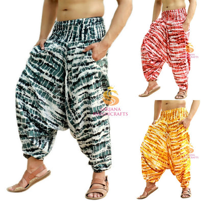Men Women Rayon Tie Dyed Harem Pants Yoga Unisex Drop Crotch Pockets Pants