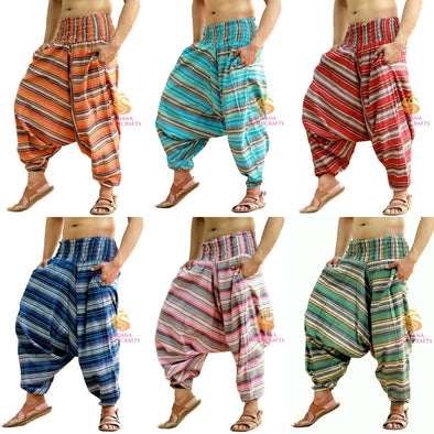 Men Women Cotton Striped Harem Pants Yoga Unisex Drop Crotch Pockets Pants