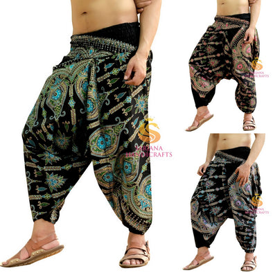 Men Women Cotton Golden Printed Harem Pants Yoga Unisex Drop Crotch Pockets Pants