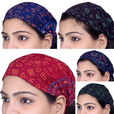 Lot 10 Pieces Women Rayon Printed Headband Wide Hairband Men Wrap Yoga Bandana