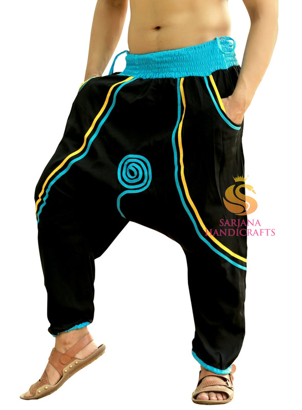 Men Women Mos Crepe Black Harem Pants Yoga Unisex Drop Crotch Pockets Pants