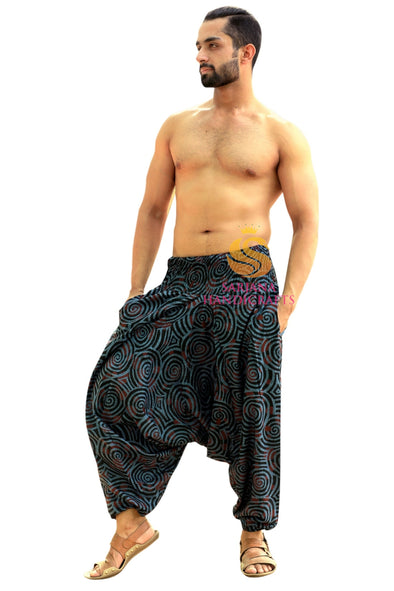 Men Women Cotton Printed Harem Pants Yoga Unisex Drop Crotch Pockets Pants