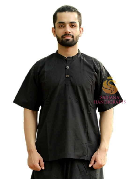 Men 100% Cotton Solid Casual Shirt Short Kurta Indian Loose Fit Ethnic Kurta
