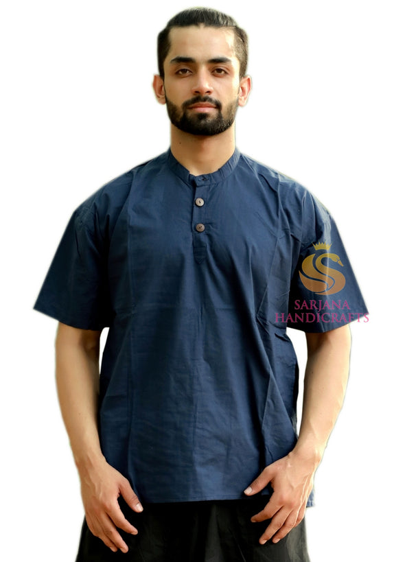 Men 100% Cotton Navy Blue Casual Shirt Short Kurta Indian Loose Fit Ethnic Solid Kurta