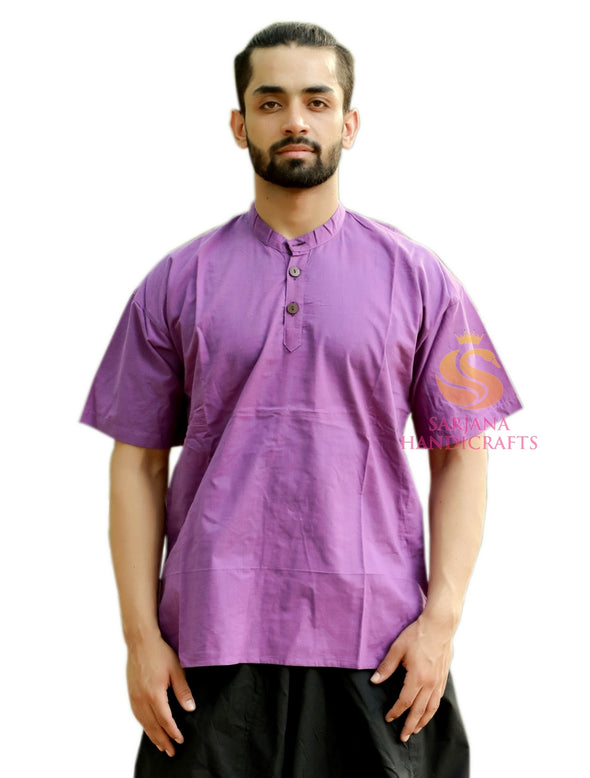 Men 100% Cotton Purple Casual Shirt Short Kurta Indian Loose Fit Ethnic Solid Kurta