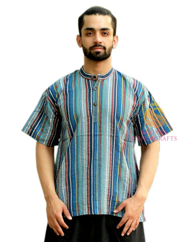 Men 100% Cotton Striped Casual Shirt Short Kurta Indian Loose Fit Ethnic Kurta